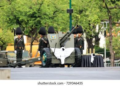 Bangkok/Thailand-7 October 2017:first day of practice procession of Ritual the royal Thai king Rama 9 in public of Royal Plaza in bangkok