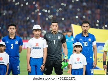 BANGKOK-THAILAND-8Dec,2016:Kawin tammasatchanan[c] goalkeeper of thailand national team in action during match AFF Suzuki cup between thailand and myanmar at rajamangkala Stadium Thailand