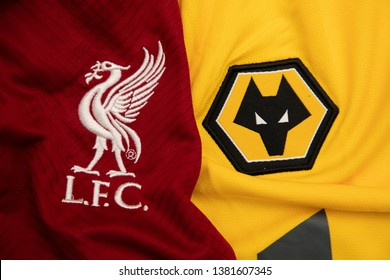 BANGKOK,THAILAND-APRI: 26: The Logo of Liverpool and Wolverhampton Wanderers on the Jerseys on April 26,2019