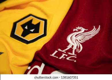 BANGKOK,THAILAND-APRI: 26: The Logo of Liverpool and Wolverhampton Wanderers on the Jerseys on April 26,2019