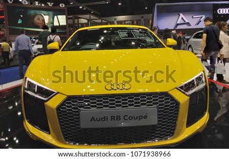 Bangkok Thailand April 022018 Audi Yellow Car 2018 Motor Stock Photo