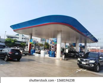 Bangkok,Thailand,April 12,2019 PTT gas station