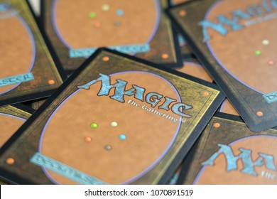 BANGKOK,THAILAND-APRIL 17:The Back of the cards of game Magic: The Gathering on the Table on April 17,2018