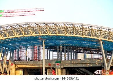 BANGKOK-THAILAND-APRIL 21 : The construction of new sky train in the city of Thailand, April 21, 2018 Bangkok, Thailand