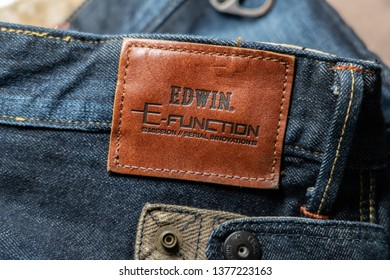 BANGKOK,THAILAND-APRIL 22: View of  Japanese Edwin Jeans Brand Logo on the Jeans on April 22,2019