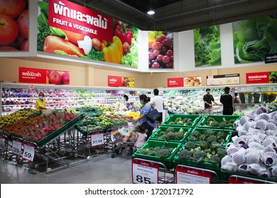 Bangkok/Thailand-April 25 2020: Fruit and vegetable section at Makro supermarket during Coronavirus covid-19 pandemic.