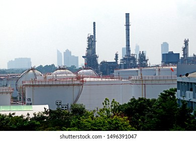 BANGKOK-THAILAND-APRIL 4 : Texture of Oil refinery building near the highway in the city, April 4, 2018, Bangkok, Thailand.