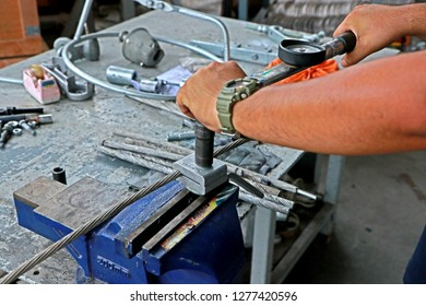 BANGKOK-THAILAND-APRIL 4 : Tool torque of Steel hardware for fitting electrical cable with steel tower in Transmission line of Thailand, April 4, 2018 Bangkok, Thailand
