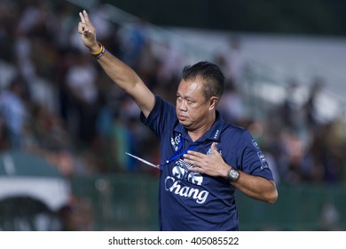 BANGKOK,THAILAND:APRIL;2016:newin chitchop President of Buriram during football Toyota League cup between Army FC and BURIRAM UTD. , at Army Stadium on April 10,2016:Thailand.