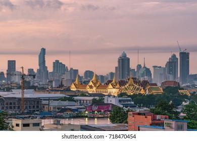 Bangkok,Thailand-AUG 31, 2017 : Grand Palace of Thailand at twilight in Bangkok.
