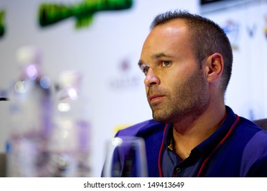 BANGKOK,THAILAND-AUGUST 05:Andres Iniesta of Barcelona FC  attends a press conference after arriving at The Okura Prestige Bangkok on August 05, 2013 in Bangkok, Thailand.