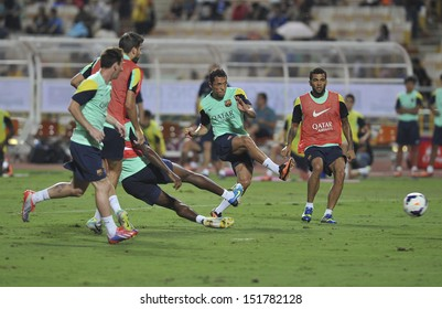 BANGKOK,THAILAND-AUGUST 06:Adriano(R2) of Barcelona FC in action during Barcelona FC training session at Rajamangala Stadium on August 06, 2013 in Bangkok, Thailand.
