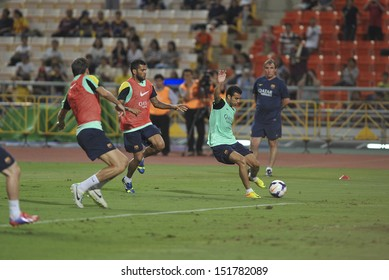 BANGKOK,THAILAND-AUGUST 06:Pedro(R2) of Barcelona FC in action during Barcelona FC training session at Rajamangala Stadium on August 06, 2013 in Bangkok, Thailand.