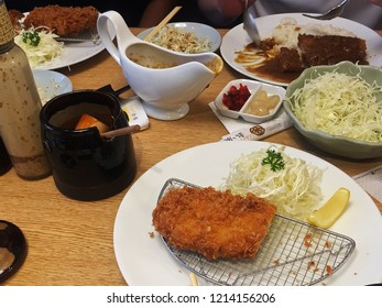 BANGKOK,THAILAND-AUGUST 14,2016:Tonkatsu (Japanese breaded deep-fried pork cutlet)