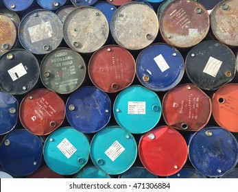 Bangkok,Thailand-August 20,2016:Oil barrels or chemical drums stacked up for cargo.