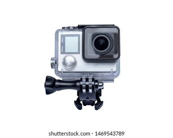 Bangkok,Thailand-August 4,2019: GoPro Hero 4 Black Edition isolated on white background.manufactured by GoPro Inc.pro,