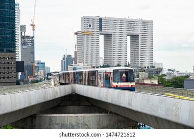 "Bangkok,Thailand-August 9,2019:D-Day, BTS ""Ha Yeak Lat Pharo Interchange Station"" is open for service on the first day. Experiment for service on the Green Line (extension) during Mo Chit - Saphan Mai"