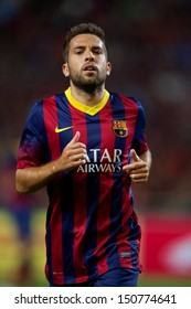 BANGKOK,THAILAND-AUGUST07:Jordi Alba of FC Barcelona in action during the international friendly match Thailand XI and FC Barcelona at Rajamangala Stadium on August 7,2013 in,Thailand.