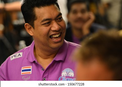 BANGKOK,THAILAND-AUGUST15,2013:Kiattipong Radchatagriengkai head coach of Thai at meeting room during press conference Volleyball WGP 2013 at Golden Tulip hotel on August15,2013 in Bangkok,Thailand