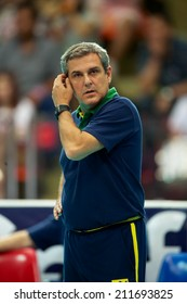 BANGKOK,THAILAND-AUGUST15:Coach	 Jose Roberto Lages Guimaraes of Brazil in action during the FIVB Women's World Grand Prix 2014  Brazil and USA at Indoor Stadium Huamark on Aug.15, 2014 in Thailand.