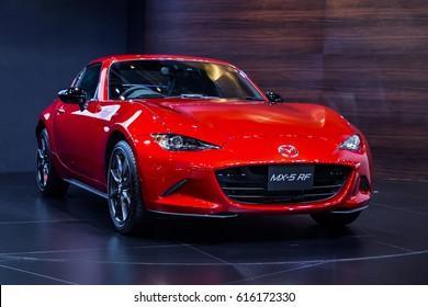 BANGKOK,THAILAND-CIRCA APR 2017:Red  Mazda MX-5 RF in Bangkok international moter show exhibition, Bangkok, Thailand