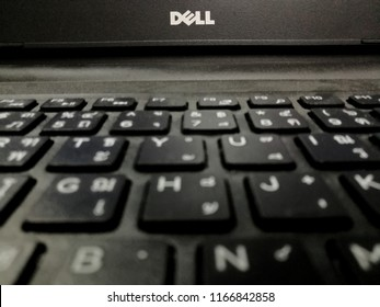 Bangkok,Thailand-Circa AUG 2018: Keyboard of notebook brand Dell in office Bangkok thailand.This Dell brand is use in many country around the world.