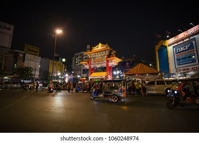 Bangkok,Thailand-Circa FEB 2018: Many people and tourist at gate of China town for in the night in Bangkok thailand.