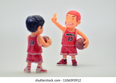 BANGKOK,THAILAND-CIRCA JUN 2018: Mini model or figures of famous Japanese cartoons call Slam Dunk in action of talkin meeting with his friend team to make win.