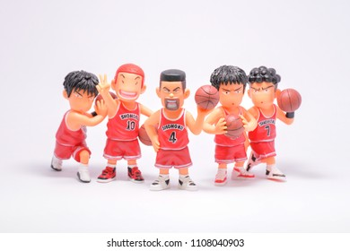 BANGKOK,THAILAND-CIRCA JUN 2108: The cartoons character from japan famous cartoon series called Slam dunk stand with the team on white background.