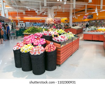 Bangkok,THAILAND-CIRCA MAY 2018: Fruits zone in the supermarket for selling many kind of fruits in Thailand