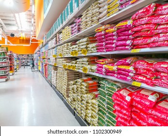 Bangkok,THAILAND-CIRCA MAY 2018: Rice in the bag for sell in Thailand supermarket and people are choosing the product, this is main food of Thai people for consume in everyday