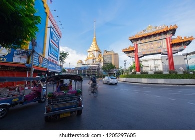 BANGKOK,THAILAND-COT 17,2018: Odeon Circle The Arch Gateway to Chinatown or Yaowarat The Circus has a History with Yaowarat Road is Another Major Attraction of Bangkok.