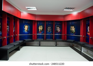 BANGKOK,THAILAND-DECEMBER 05: View athletic dressing rooms team of Team Cannavaro during the Global Legends Series match, at the SCG Stadium on December 5, 2014 in Bangkok, Thailand.