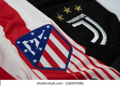 BANGKOK,THAILAND-DECEMBER 18: Juventus and Atletico Madrid Logo on the Jersey on December 18,2018. Both of them will face each other in UCL Knock Out Round Soon