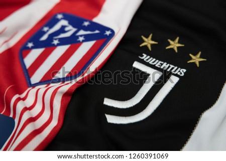 Bangkokthailanddecember 18 Juventus Atletico Madrid Logo Stock Photo