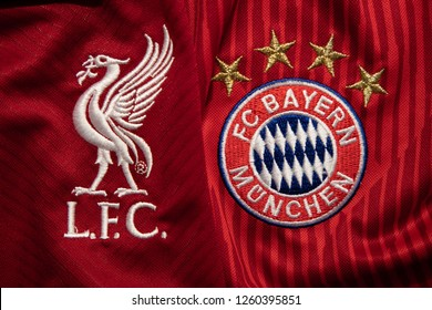 BANGKOK,THAILAND-DECEMBER 18: Liverpool and Bayern Munich Logo on the Jersey on December 18,2018. Both of them will face each other in UCL Knock