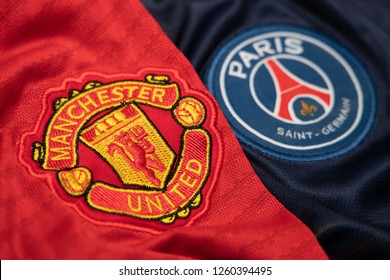 BANGKOK,THAILAND-DECEMBER 18: Manchester United and PSG Paris Saint German Logo on the Jersey on December 18,2018. Both of them will face each other in UCL Knock Out Round Soon