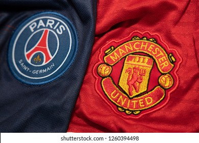 BANGKOK,THAILAND-DECEMBER 18:  PSG Paris Saint German and Manchester United Logo on the Jersey on December 18,2018. Both of them will face each other in UCL Knock Out