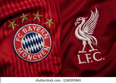 BANGKOK,THAILAND-DECEMBER 18:Bayern Munich  and LiverpoolLogo on the Jersey on December 18,2018. Both of them will face each other in UCL Knock