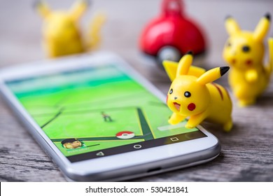 BANGKOK,THAILAND-DECEMBER, 2016 : Pokemon Go,most popular new online game application smartphone, a free-to-play reality mobile game developed by Niantic for iOS and Android devices