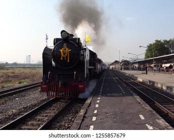 Bangkok,Thailand-December 5, 2010: A special steam train at Bang Sue station in Bangkok