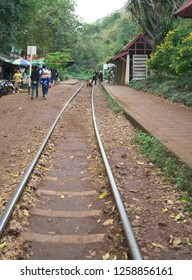 Bangkok,Thailand-December 9, 2018: Tham Kra Sae bridge of Thai-Burma Railway