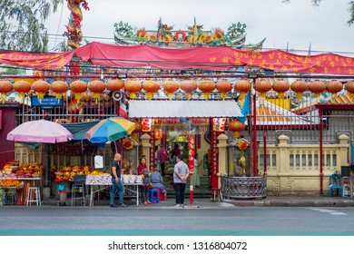 BANGKOK,THAILAND-FEB 17 - Tiger God Shrine or San Chao Pho Suea, one of the most famous Chinese Temple in Bangkok on February 17, 2019.