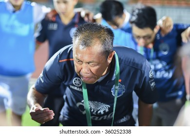 BANGKOK,THAILAND-FEB 3,2014 : Newin Chidchob president of buriram united  in action during the competition 2014 Thai premier league between ARMY UTD vs BURIRAM UTD at Army stadium on FEB 3,2014