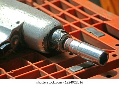 BANGKOK-THAILAND-FEBRUARY 12 : Tool torque steel hardware for fitting electrical cable with steel tower at warehouse, February 12, 2016 Bangkok, Thailand