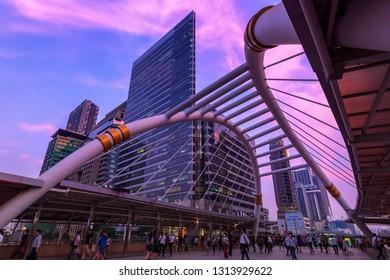 Bangkok,Thailand-February 12,2019: Land mark of city life in Bangkok Thailand bridge link between MRT and BTS mass transportation