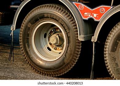 BANGKOK-THAILAND-FEBRUARY 18 : Wheel of truck parked along the street on February 18, 2016 Bangkok, Thailand.