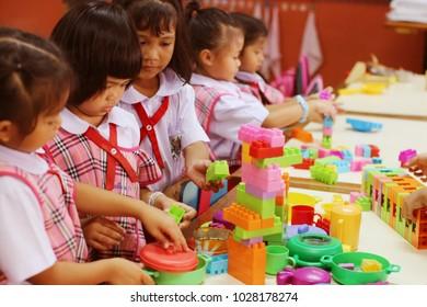 Bangkok,Thailand,February 19;The play of kindergarten children to enhance the learning skills. And good health. Of Lumphini Park School, Pathumwan District, Bangkok, Thailand
