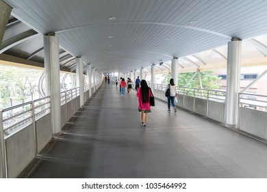 Bangkok,Thailand-February 5,2018:People walk in Chong Nonsi sky walk