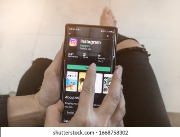 BANGKOK-THAILAND-FEBRUARY-17-2020:Woman hand using Samsung note 8 with Instagram application menu on smartphone screen,Instagram is a popular social media application for sharing images and video